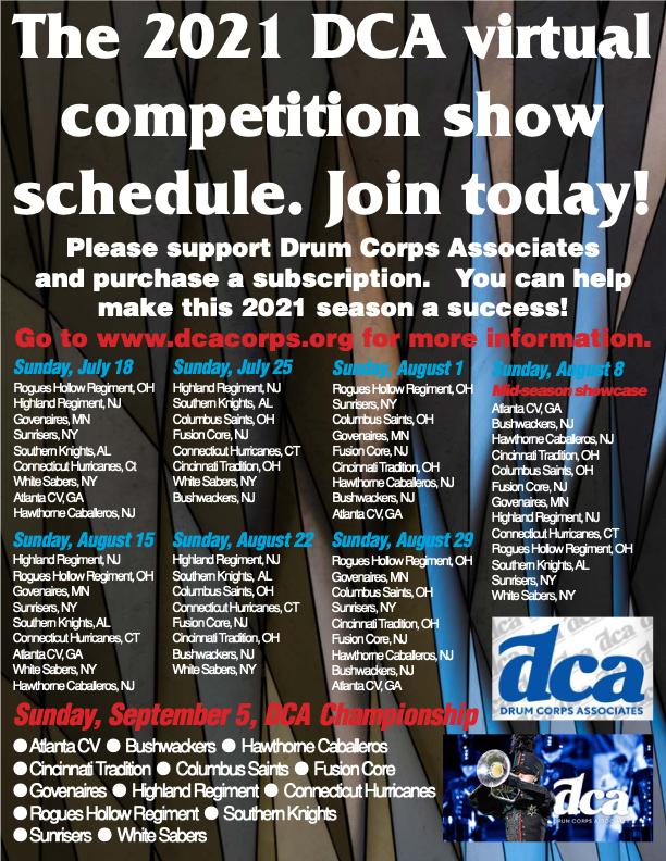 2021 DCA Schedule
